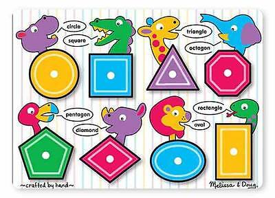 Melissa & Doug Learn Your Shapes Wood Peg Puzzles for 2+ Yr Toddlers #3285