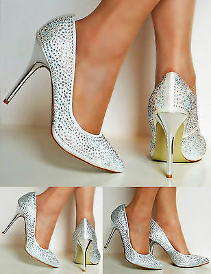 NEW Ladies Party Bridal Diamante Satin High Heel Ivory Silver Court Shoes Size