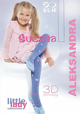 "Girls Tights 50 Denier Opaque 3D Flower Pattern Age 5-6 ;7-8 ;9-10 ""SUSANA"""