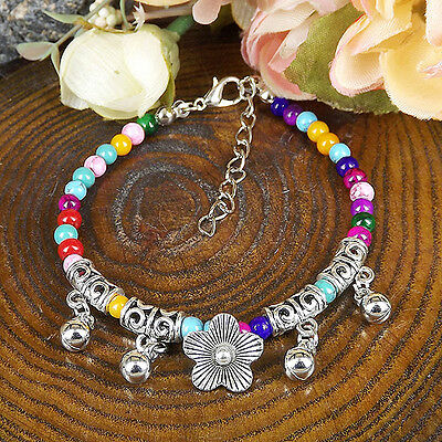 HOT Free shipping New Tibet silver multicolor jade turquoise bead bracelet S84C