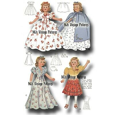"""Vtg Pattern for Shirley Temple, Little Lady, Patsy Ann Doll Clothes ~ 18"""" 19"""""""