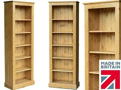Solid Pine Bookcase, 6ft x 2ft Hand-Crafted & Waxed Adjustable Display Shelving