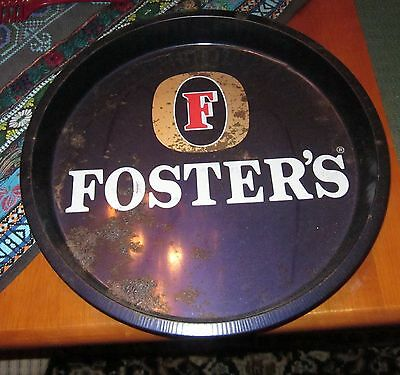 VINTAGE ADVERTISING RETRO ROUND FOSTERS BEER TRAY - PRE OWNED