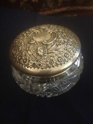 GORHAM STERLING HANDCHASED REPOUSSE POWDER PUFF JAR, STERLING SILVER1850-1899