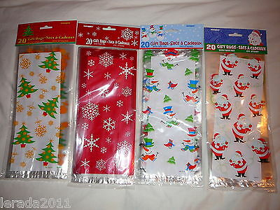 Christmas Cellophane Gift 20 Bags Sweets Gifts Chocolates Presents Cello Party