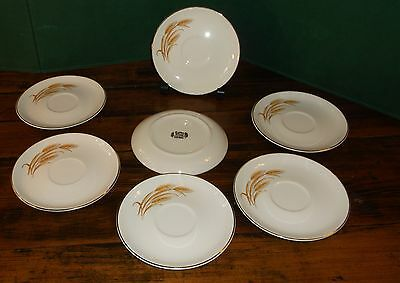 7 Pieces Vintage Golden Wheat Dinnerware SAUCERS by HOMER LAUGHLIN C1950s Cream
