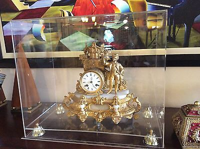 Antique Cast Iron Gilt Mantel Clock