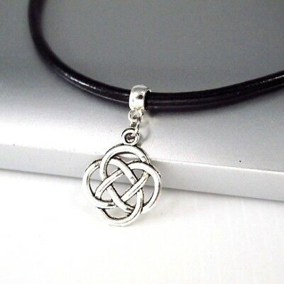 Silver Irish Celtic Lucky Clover Pendant Mens Womens Dark Brown Leather Necklace