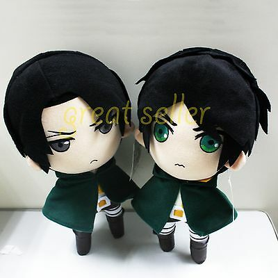 """New Arrival Attack On Titan 12"""" Levi /Rivaille & Eren Jaeger Plush Doll Toy 2pcs"""