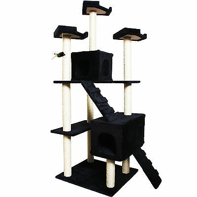 """New 73"""" Cat Kitty Tree Tower Condo Furniture Scratch Post Pet House Navy"""