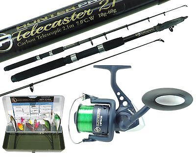 Pike Fishing Spinning Kit 6Ft Or 8Ft Carbon Rod, Ngt Reel & Tackle Box Pike Set
