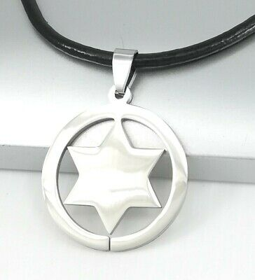 Silver Western Cowboy Star Stainless Steel Pendant Black Leather Necklace
