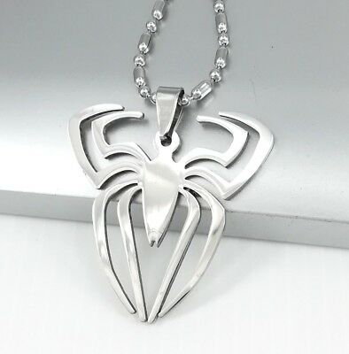 Silver Stainless Steel Spiderman Symbol Spider Pendant Black Leather Necklace