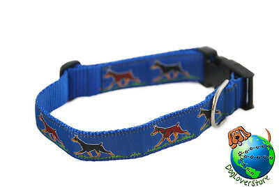 Doberman Pinscher Dog Breed Adjustable Nylon Collar Large 12-20″ Blue
