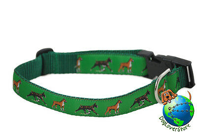 Boxer Dog Breed Adjustable Nylon Collar Large 12-20″ Green