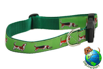 Basset Hound Dog Breed Adjustable Nylon Collars Large 12-20″ Green