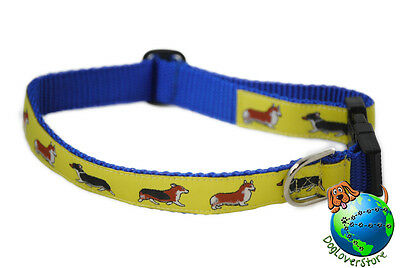 Welsh Corgi Dog Breed Adjustable Nylon Collar Medium 11-19″ Yellow