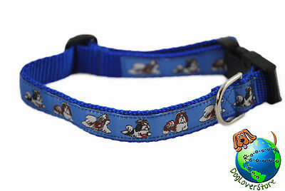Shih Tzu Dog Breed Adjustable Nylon Collar Medium 10-16″ Blue