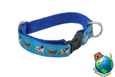Papillon Dog Breed Adjustable Nylon Collar Small 7-11″ Blue