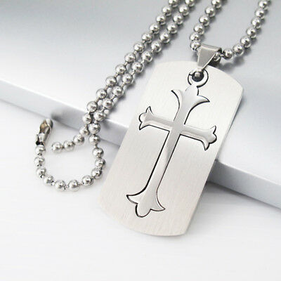 Silver Army Military Dog Tags Gothic Celtic Cross Pendant Mens Necklace Chain