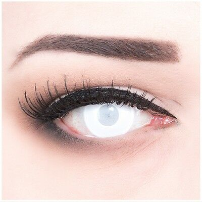 Coloured Contact Lenses Blind White Contacts Color Halloween + Free Case