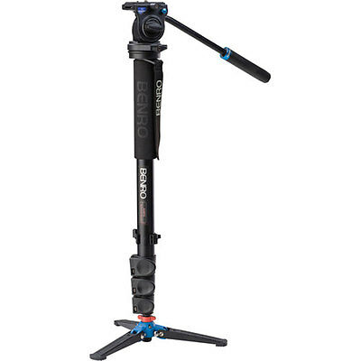 New Benro A38FDS2 Video Monopod Kit with Flip Lock Legs, S2 Head and 3 Leg Base