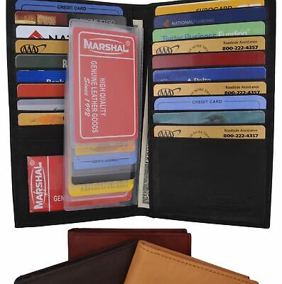 Genuine Leather Credit Card Holder Wallet 19 Card Slots + 1 ID Window
