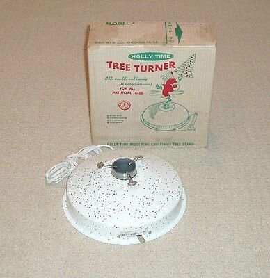 VINTAGE HOLLY TIME MUSICAL ROTATING ARTIFICIAL ALUMINUM CHRISTMAS TREE STAND