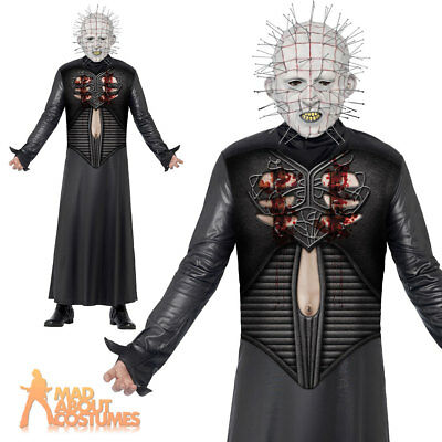 Adult Hellraiser Pinhead Costume Mens Halloween Fancy Dress Outfit + Mask New