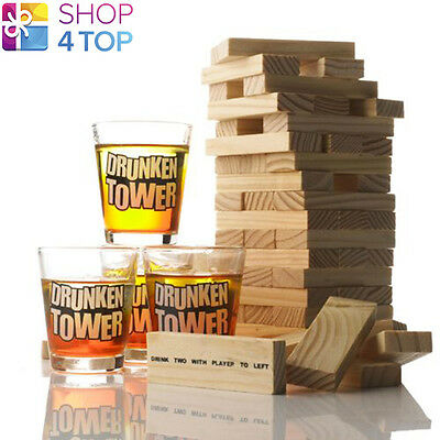 Party Drinking Game Tipsy Tower Jenga With 4 Shot Glasses Adult Gag Funny Gifts
