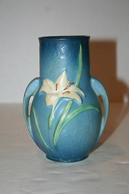 """Authentic Roseville Pottery Small Vase - Powder Blue Zephyr Lily 130-6"""""""