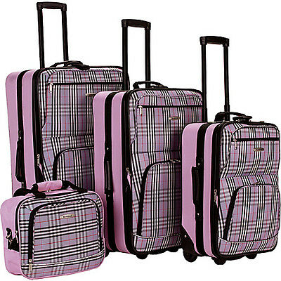 Rockland Luggage 4 Piece Expandable Luggage Set - Pink