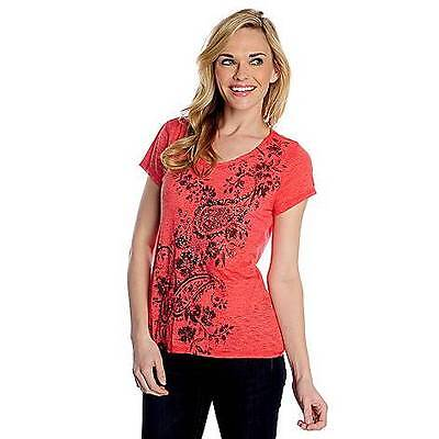 NEW One World Burnout Knit Short Sleeved Embellished Printed Tee RED