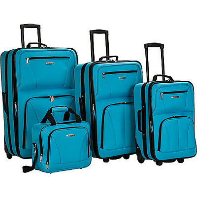Rockland Luggage Deluxe 4 Piece Luggage Set - Turquoise