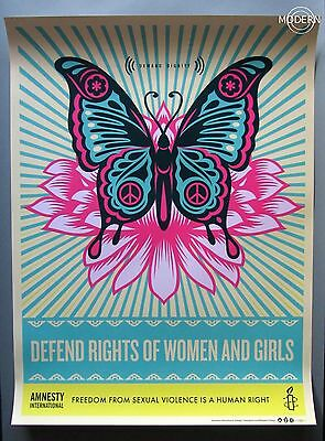 DEFEND RIGHTS OF WOMEN & GIRLS - OBEY - SHEPARD FAIREY - LITHOGRAPH - MINT faile