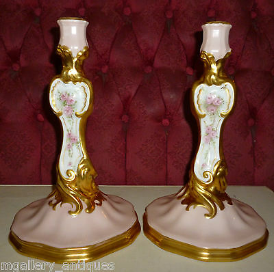 Pair Antique Rococo Porcelain Candlesticks  19th c.
