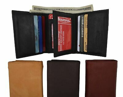 Mens Trifold Leather 9 Credit cards and 2 IDs Classic Style Wallet Marshal New
