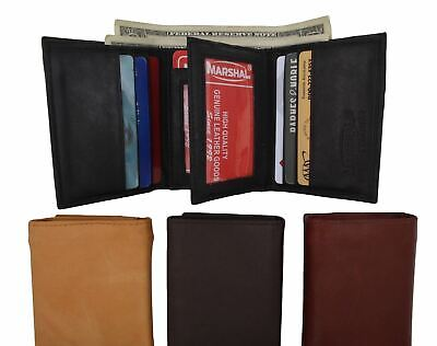 New Mens Trifold Leather 9 Credit cards and  2 IDs Classic Style Wallet Marshal