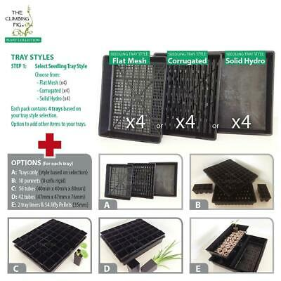 Seedling/Propagation Trays (4pack) with punnets, tube pots & Jiffy pellet option