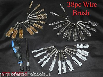 38pc Industrial Quality Wire Brush Set Extra Long Reach Pro Abrasives Tool Kit