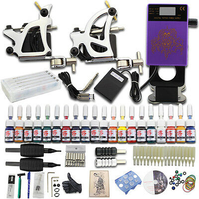 Neuf Complet Tattoo Kit de Tatouage 2 Machine Gun à Tatouer Power 20 Couleur J27