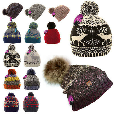 Bobble Beanie Pom Knitted Ski Hat Mens Ladies Kids Winter Warm Woolly Boy Girls