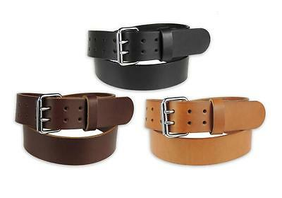 """MEN'S_HEAVY DUTY LEATHER WORK_GUN HOLSTER BELT_2 PRONG BUCKLE_2"""" Wide_Amish Made"""