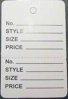 100 White Clothing Consign Perforated Unstrung Price Merchandise Store Tags