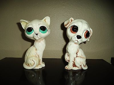 VINTAGE CERAMIC BIG EYED CAT AND BIG EYED DOG FIGURINES