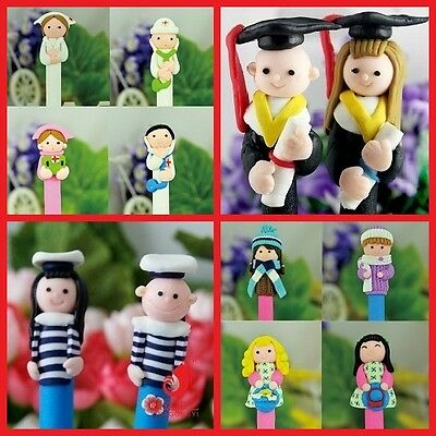 Polymer Clay Ball Pen Novelty Kid Toy School Office Gift Cute Cartoon Stationery