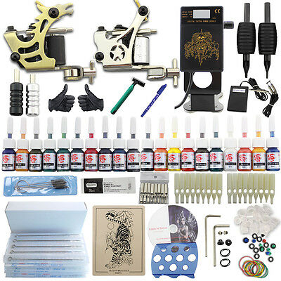 Neuf Complet Tattoo Kit de Tatouage 2 Machine Gun à Tatouer 20 Couleur Tip Grip