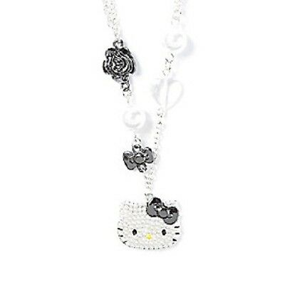 Hello Kitty Pendant Necklace Two Chains Hematite Rose Bow Pearls Sanrio NWT