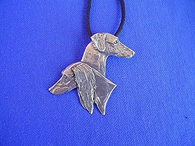 Feathered smooth saluki heads necklace #15G Pewter Dog Jewelry b Cindy A. Conter