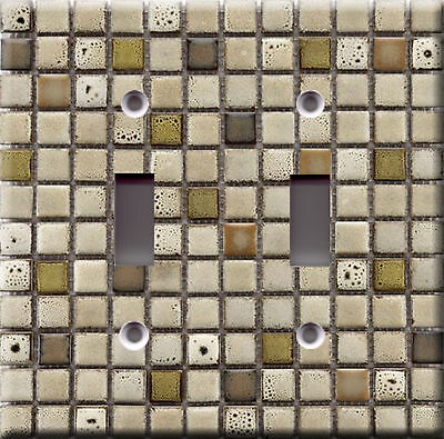 Light Switch Plate Cover - Mosaic tiles faux finish - Ceramic wall tuscan sierra